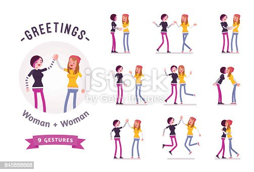Teen girls greeting ready-to-use character set. Various poses, emotions, standing, fist bump, hug. Full length, front, rear view isolated, white background. Youth community and volunteer team concept.