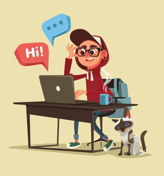 illustrazioni stock, clip art, cartoni animati e icone di tendenza di teen happy smiling boy character talking and chatting on network - compagni scuola