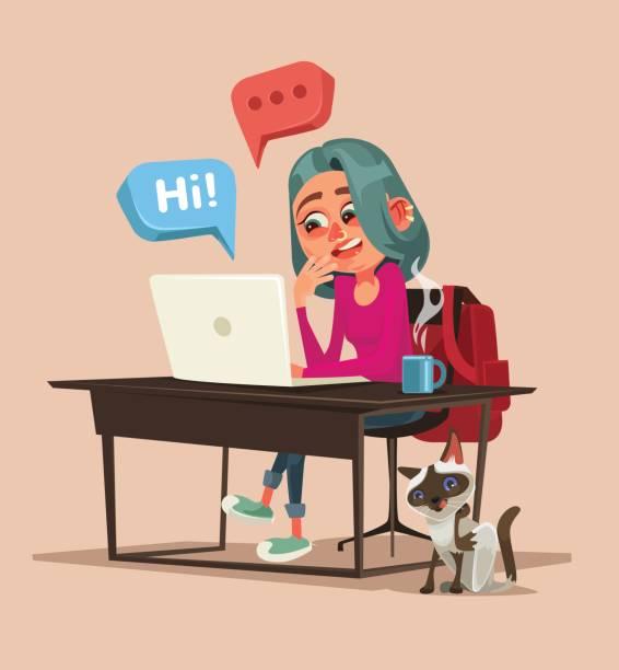 illustrazioni stock, clip art, cartoni animati e icone di tendenza di teen happy smiling girl character talking and chatting on network - compagni scuola