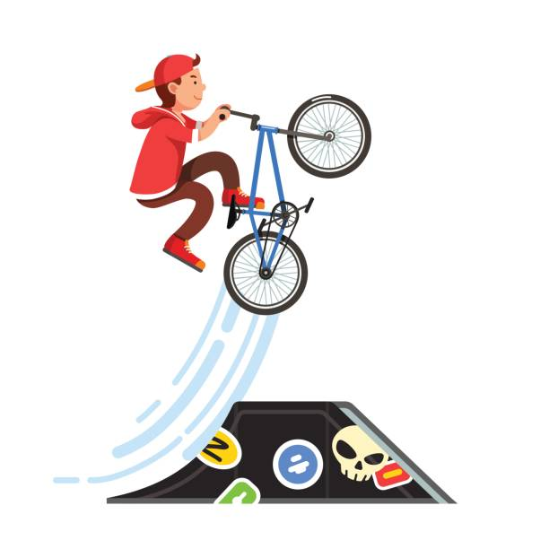 bildbanksillustrationer, clip art samt tecknat material och ikoner med tonåring unge pojken gör stunt hoppa på en bmx-cykel - skatepark
