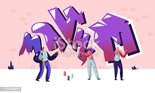 Teen Lifestyle, Street Artist Teenagers Characters Painting Graffiti on Wall. Urban Young People Creative Hobby Activity, Men and Women Drawing with Paint Aerosol Cartoon Flat Vector Illustration