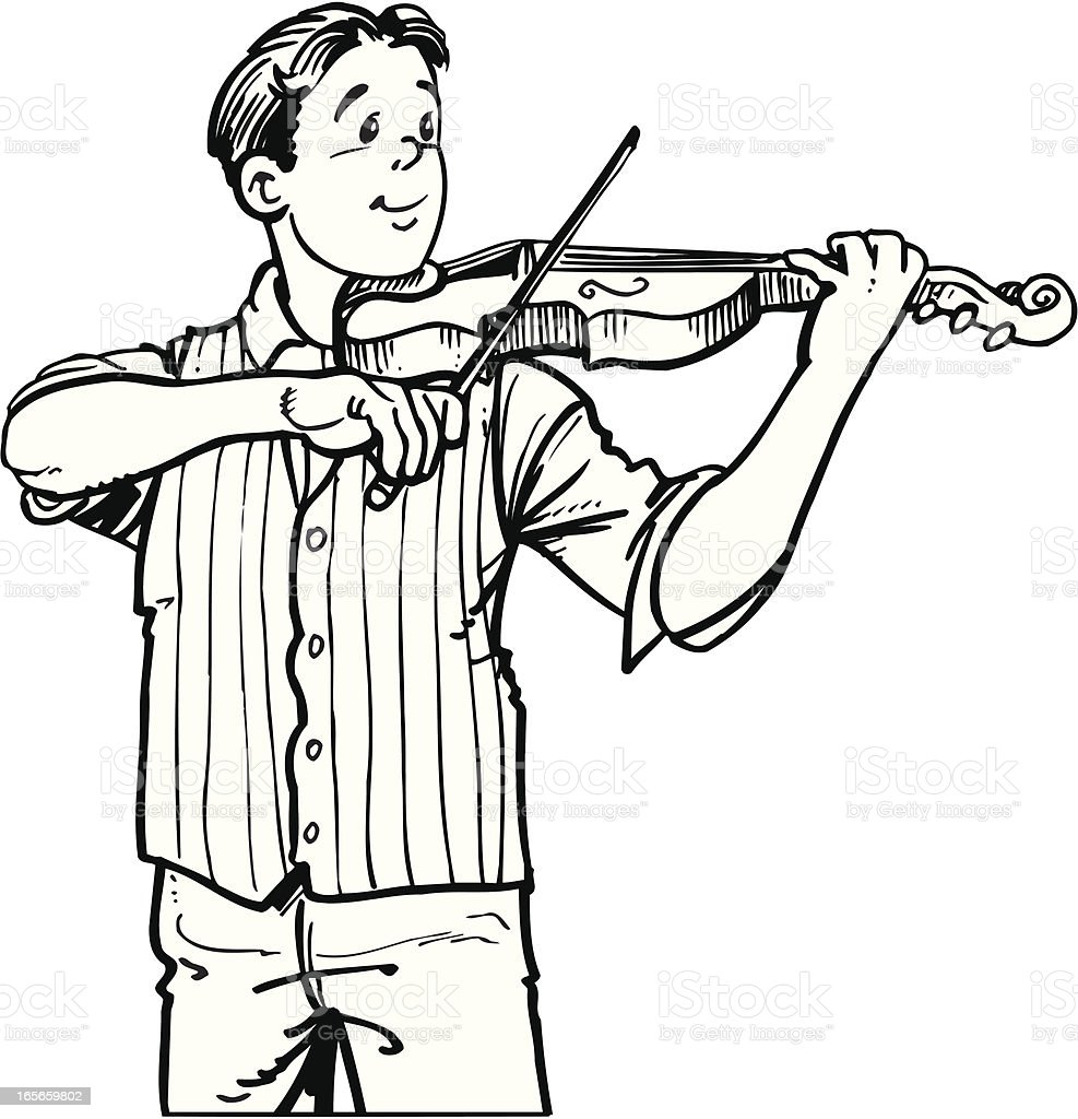 Teen playing a violine royalty-free stock vector art