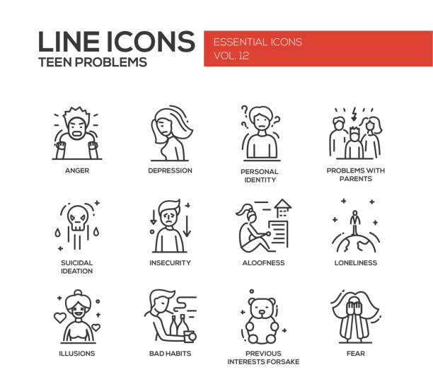 stockillustraties, clipart, cartoons en iconen met teen problems- line design icons set - solitair