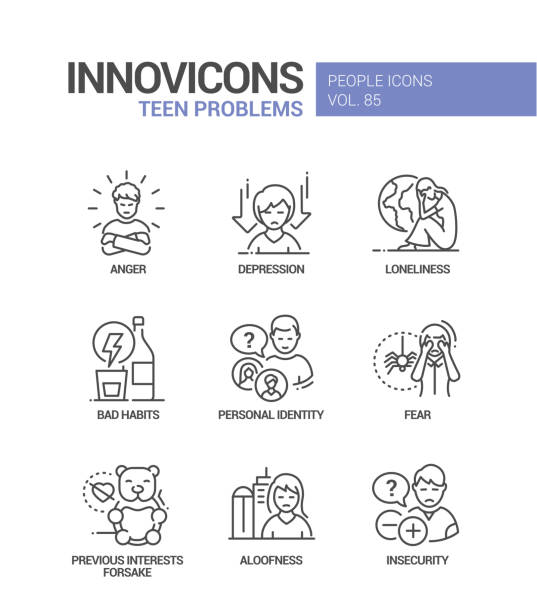 Teen problems line design style icons set vector art illustration