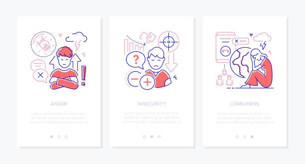 Teen problems line design style web banners vector art illustration