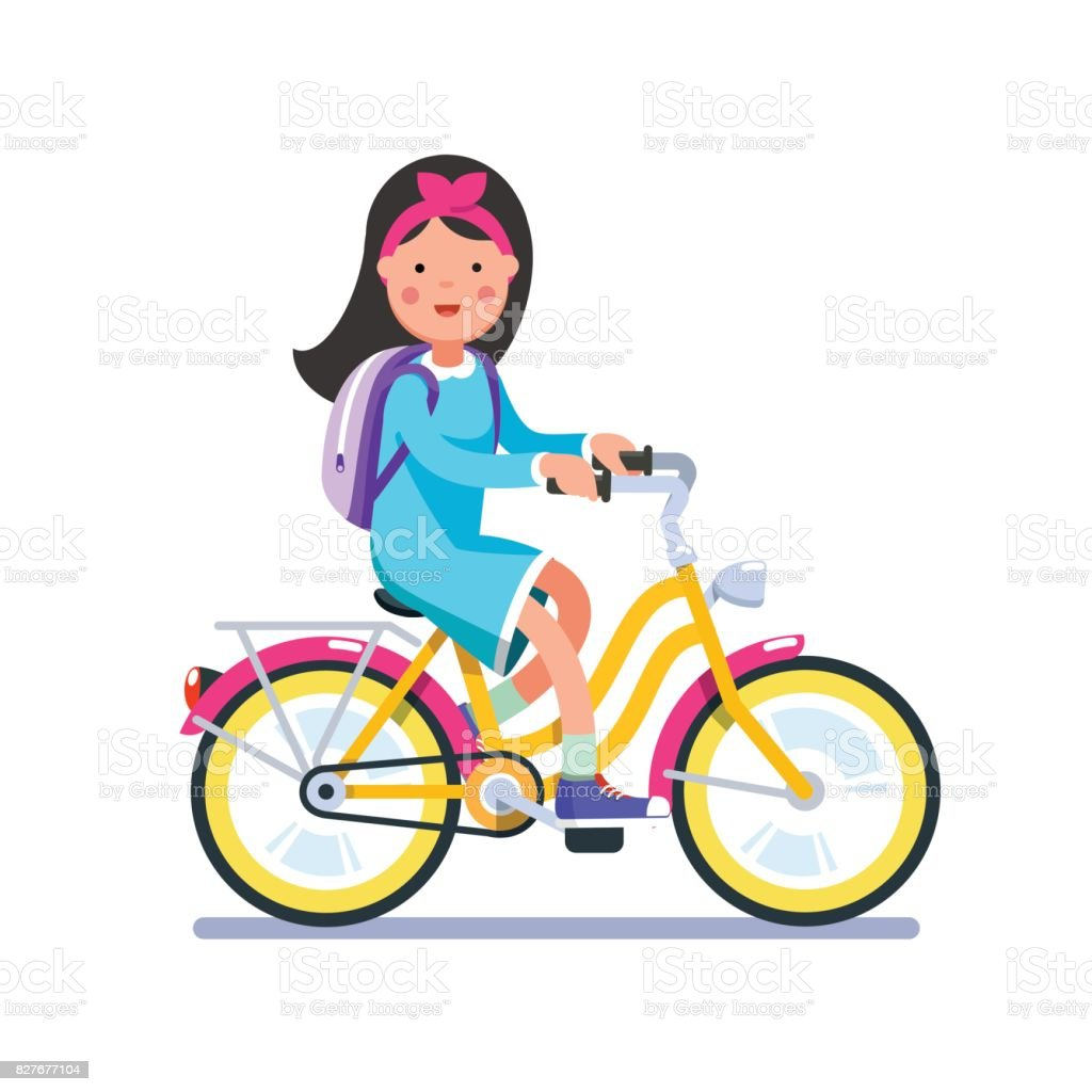 Teen school girl cycling on bicycle with backpack vector art illustration