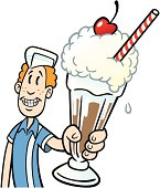 Great illustration of a teenager serving a milkshake. Perfect for a diner or menu illustration. EPS and JPEG files included. Be sure to view my other illustrations, thanks!