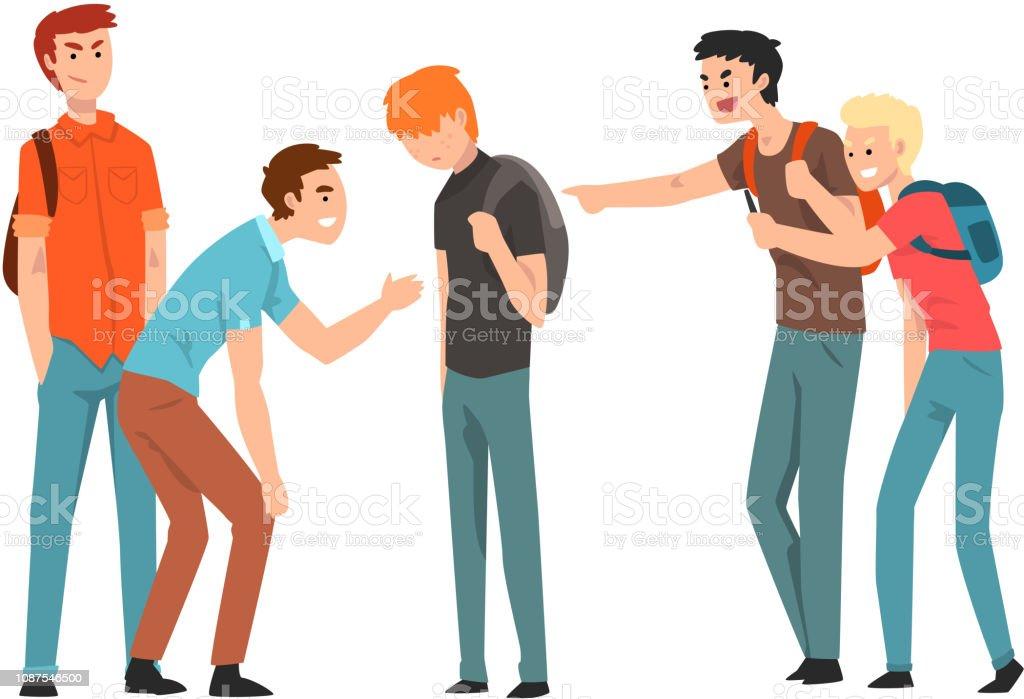 Teen Studenten lachte und zeigte auf junge, Konflikte zwischen Jugendlichen, Spott und Mobbing in der Schule Vektor Illustration auf weißem Hintergrund – Vektorgrafik