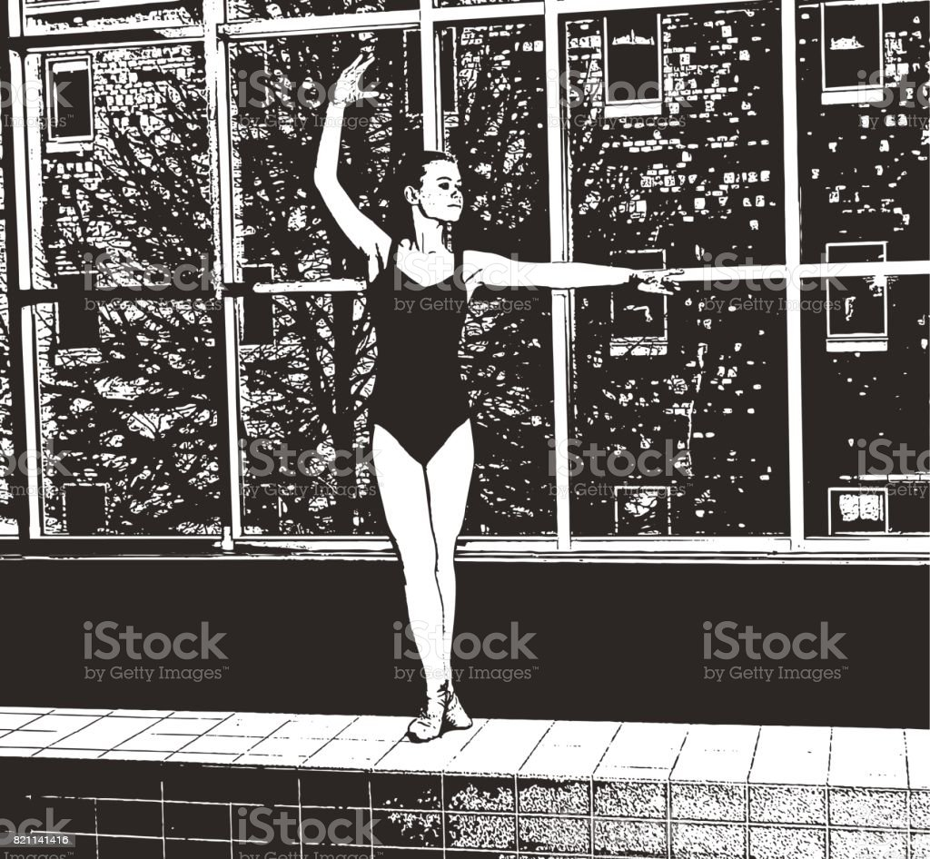 Teenage ballerina rehearsing vector art illustration