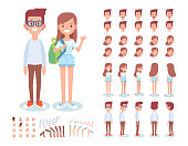 Front, side, back, 3/4 view animated characters. Young people man and woman creation set with various views, lip sync,  gestures. Separate body parts.  Cartoon style, flat vector illustration.