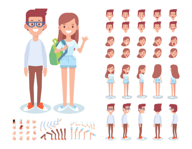 Teenage boy and girl creation set. Vector cartoon characters for animation Front, side, back, 3/4 view animated characters. Young people man and woman creation set with various views, lip sync,  gestures. Separate body parts.  Cartoon style, flat vector illustration. girls stock illustrations