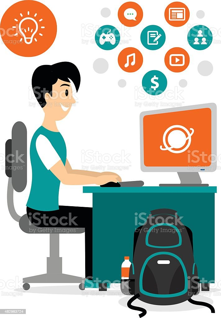 teenage boy browsing internet to access any contents clipart stock rh istockphoto com data clip art free date clipart for each day