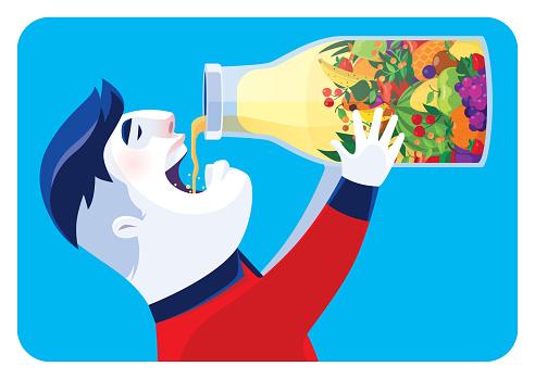 teenage boy drinking fruits juice