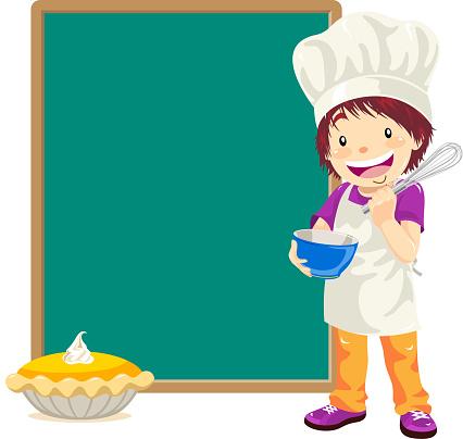 Teenage Boy Pastry Chef with Menu