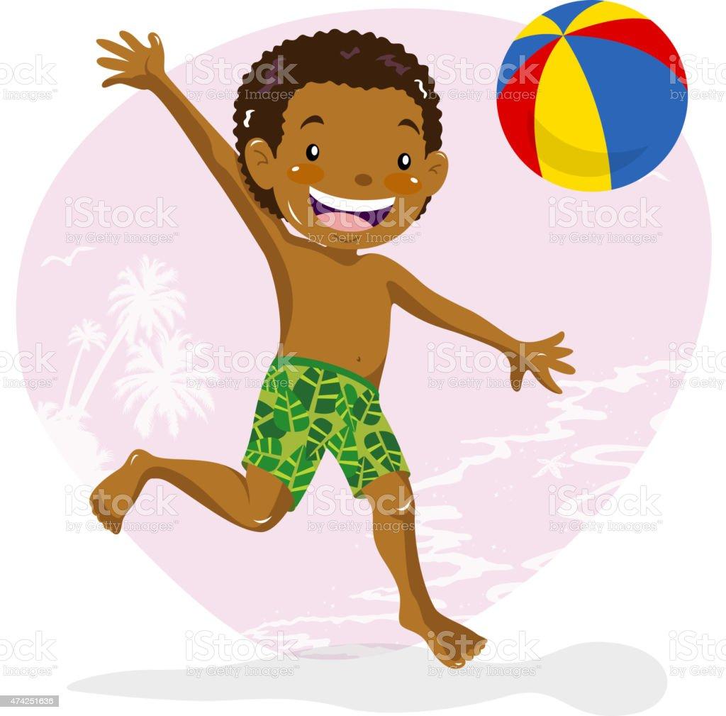 Teenage boy playing beach ball on beach vector art illustration