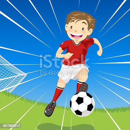 istock Teenage Boy Soccer Dribbles Down the Field 467960612