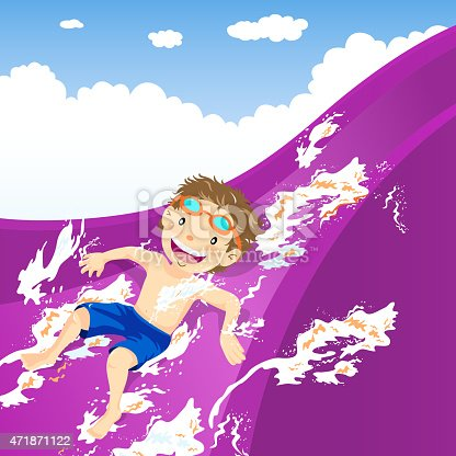istock Teenage boy splash down the water slide 471871122