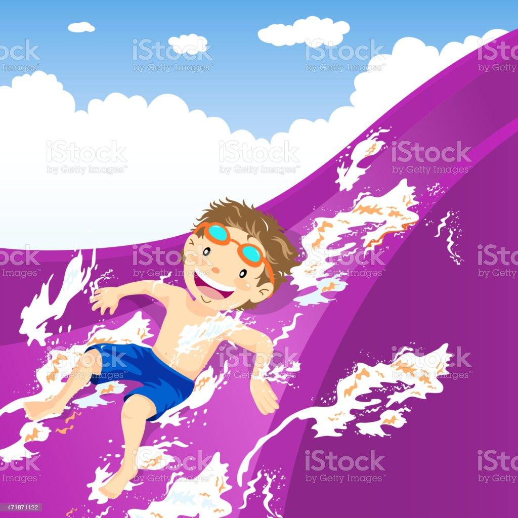 Teenage boy splash down the water slide vector art illustration