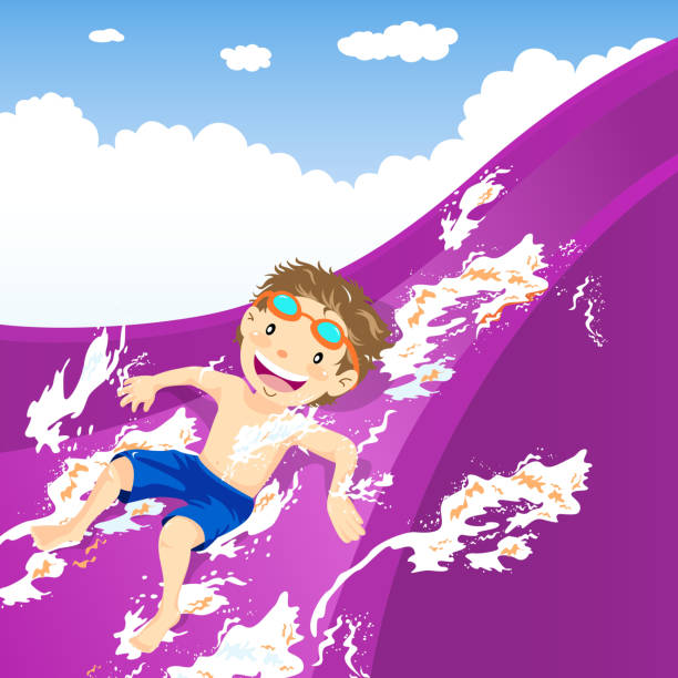 Teenage boy splash down the water slide vector art illustration