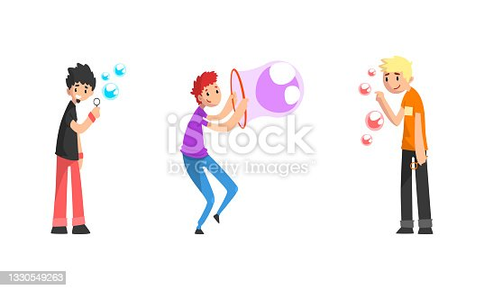 istock Teenage Boys Blowing l Soap Bubbles Set Cartoon Vector Illustration 1330549263
