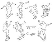 Teenage boys doing skateboard tricks - black and white line art drawing set. Isolated cartoon teenagers jumping and doing stunts - isolated vector illustration