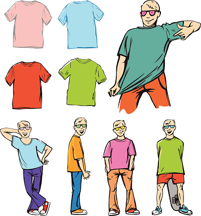 Teenage Boys Presenting T-shirts