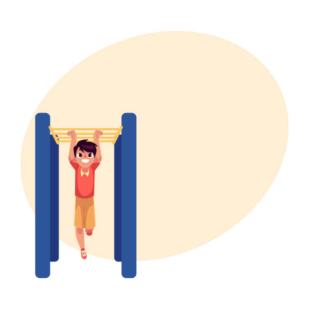 teenage caucasian boy climbing, hanging on monkey bars at playground - monkey bars stock illustrations, clip art, cartoons, & icons