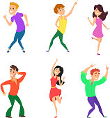 Teenage dancers in different action poses isolated on white. Vector dancer young male and female illustration