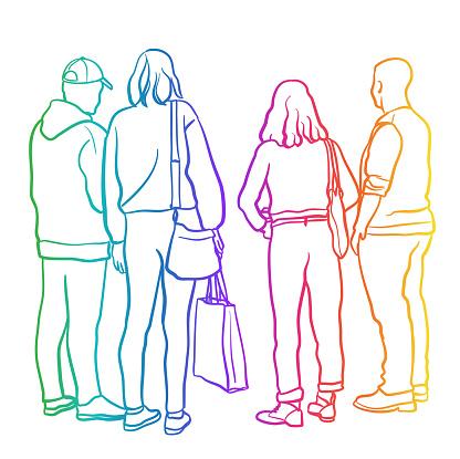 Teenage Friends At The Mall Rainbow