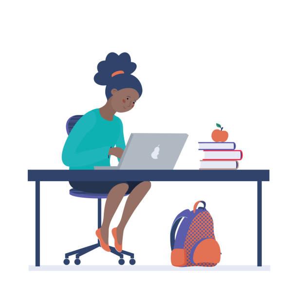 ilustraciones, imágenes clip art, dibujos animados e iconos de stock de niña adolescente trabajando en el ordenador en el aula - black people
