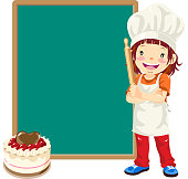 Teenage girl chef with pastry and menu.