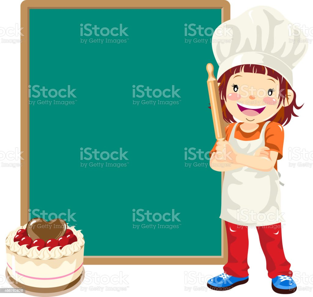 Teenage Girl Cake Chef with Menu vector art illustration