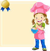 Teenage girl chef with certificate. EPS10.
