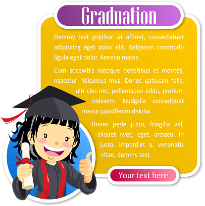 Teenage girl graduate notice