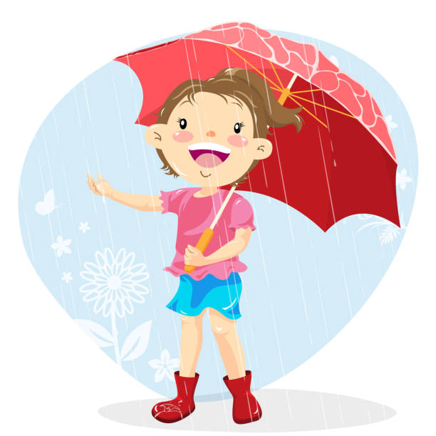 teenage girl holding umbrella on a rainy day - kids playing in rain stock illustrations, clip art, cartoons, & icons