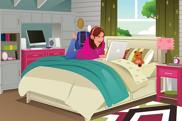 best teen bedroom illustrations royaltyfree vector
