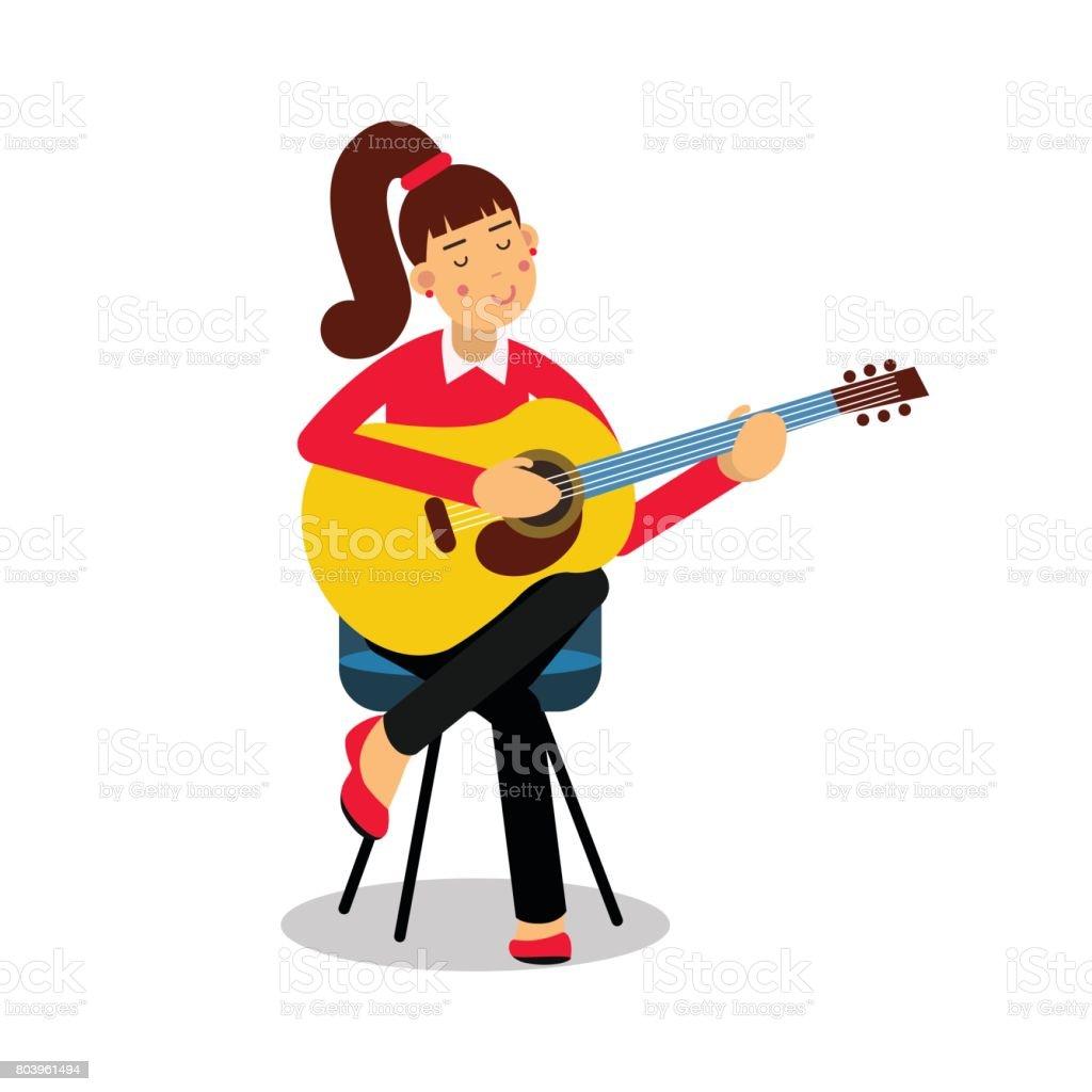 Genç Kız Bir Akustik Gitar Karikatür Karakter Vektör Illüstrasyon