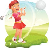 Teenage Girl Playing Golf on Green