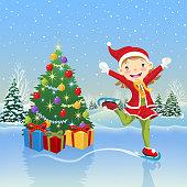 Teenage girl skating around the christmas tree.