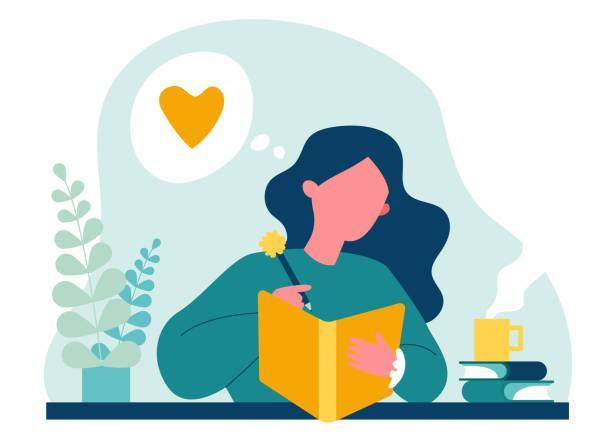 stockillustraties, clipart, cartoons en iconen met tiener die dagboek of dagboek schrijft - woman home magazine