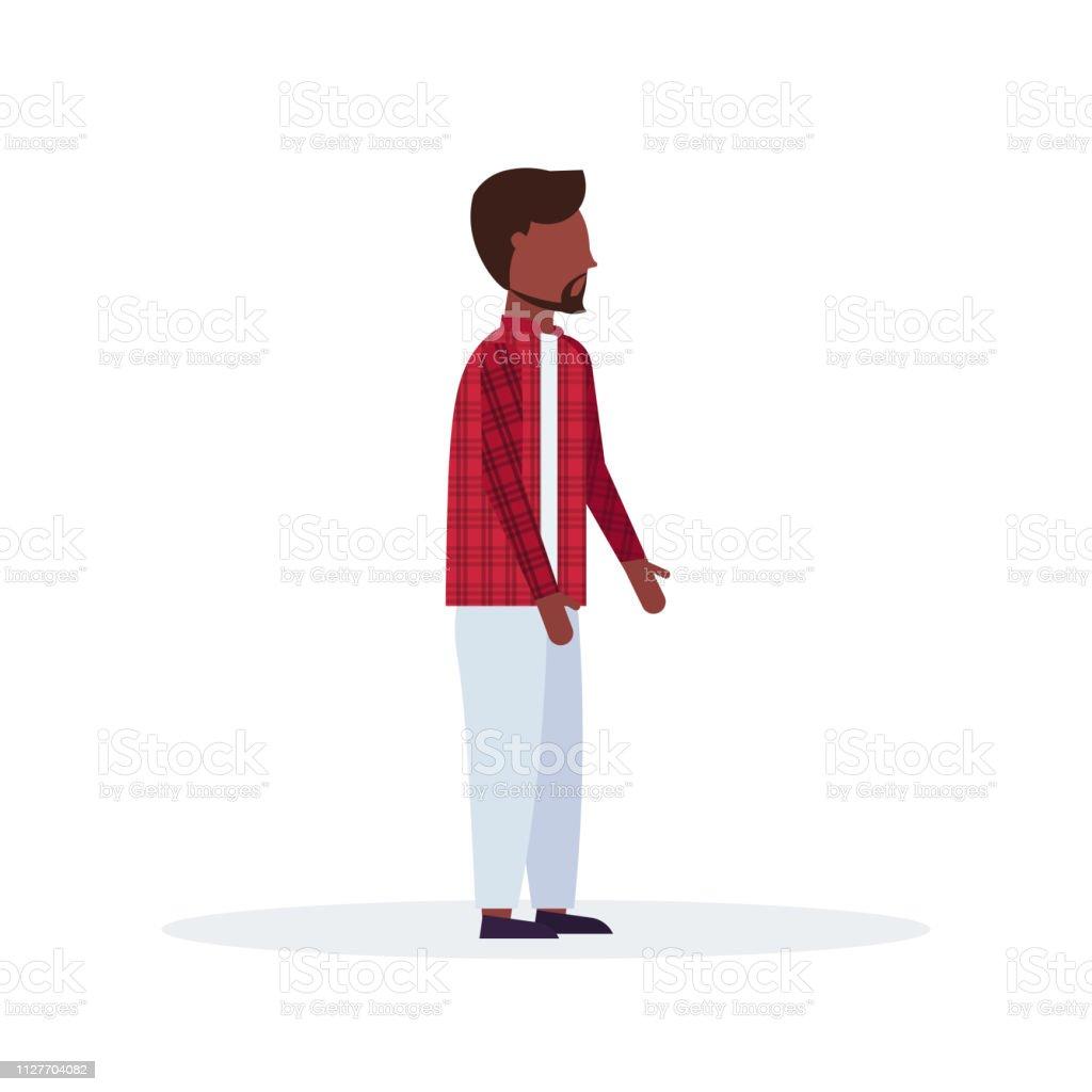 Teenage Guy Standing Pose Bearded African American Man In