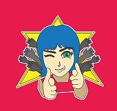 Teenage Star Character Sticker Cartoon Vector Illustration
