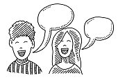 Hand-drawn vector drawing of two Teenagers, a Boy And a Girl with Speech Bubbles. Black-and-White sketch on a transparent background (.eps-file). Included files are EPS (v10) and Hi-Res JPG.