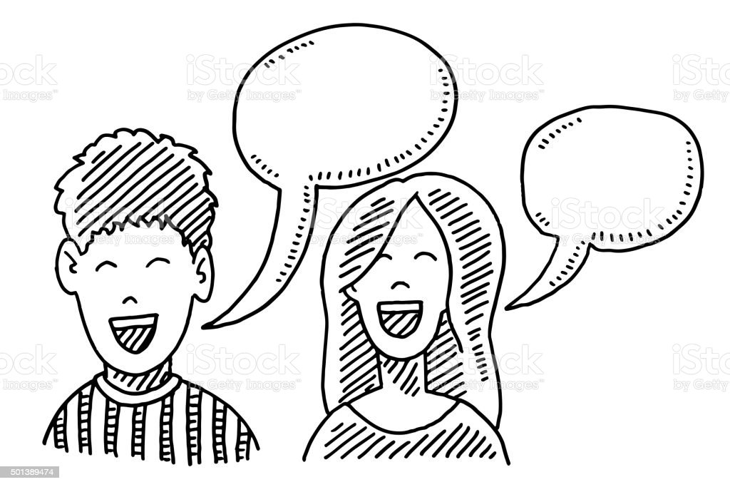 Teenager Boy And Girl Speech Bubble Drawing vector art illustration