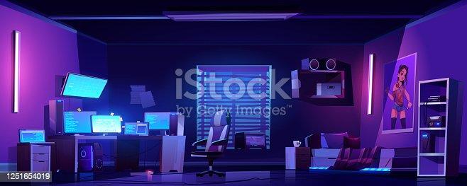 istock Teenager boy bedroom interior, computers on desk 1251654019