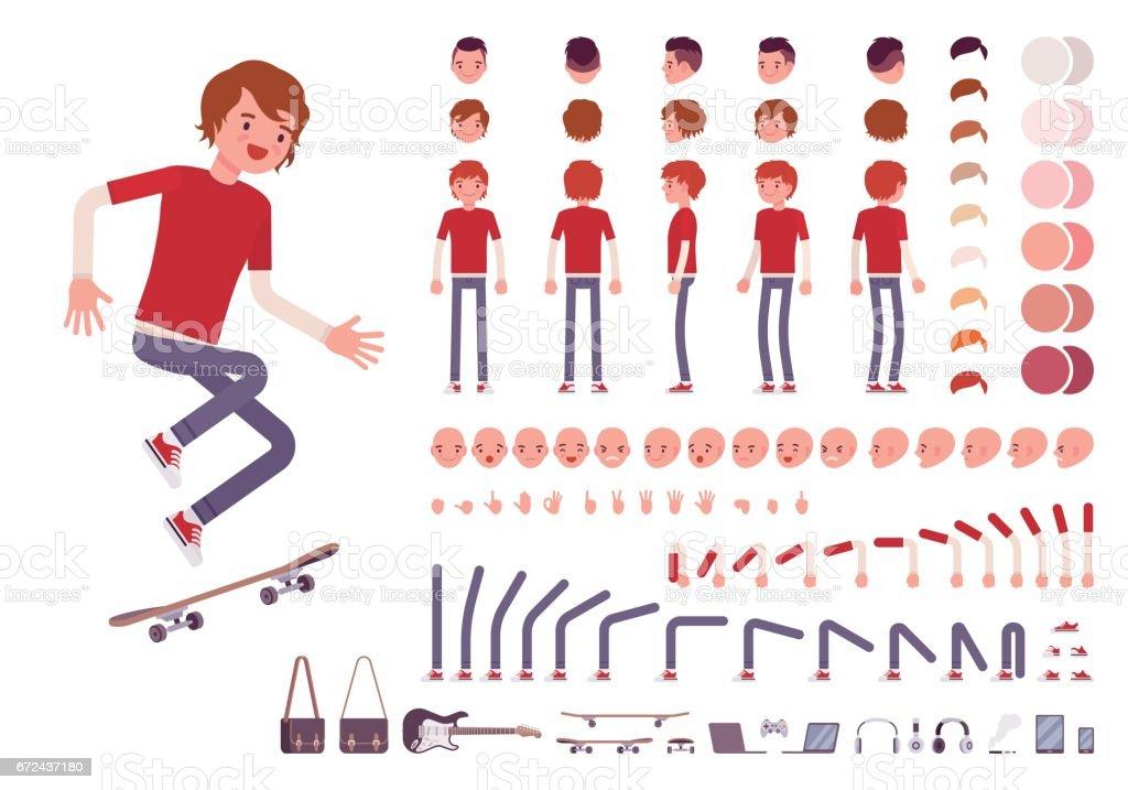 Teenager Boy Zeichensatz erstellen – Vektorgrafik