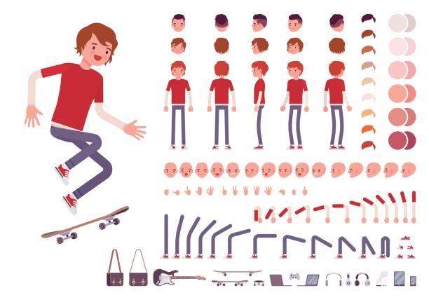 Adolescente muchacho creación conjunto - ilustración de arte vectorial