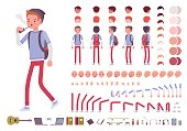 Teenager boy character creation set
