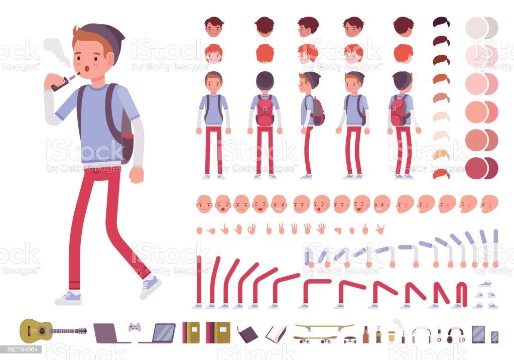 Teenager boy character creation set vector art illustration