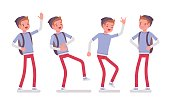 Teenager boy in standing pose, positive emotions